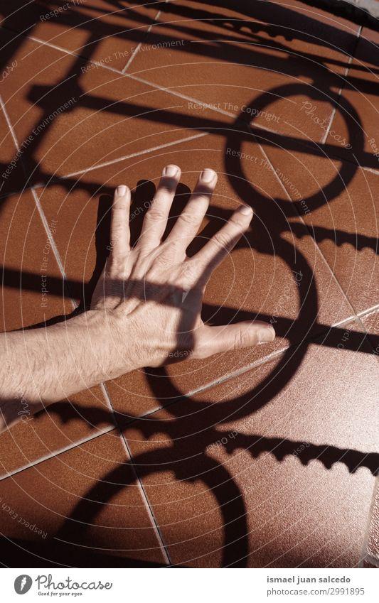 Mann Hand Schatten Silhouette auf dem Boden Finger Handfläche Körperteil Handgelenk Arme Haut Mensch Lichterscheinung Sonnenlicht gestikulieren Entwurf