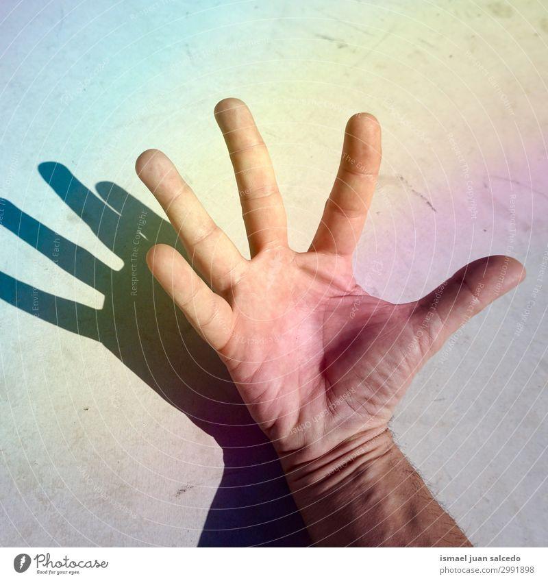 Mann Hand Schatten Silhoette an der Wand Finger Handfläche Körperteil Handgelenk Arme Haut Mensch Lichterscheinung Sonnenlicht Silhouette gestikulieren Entwurf
