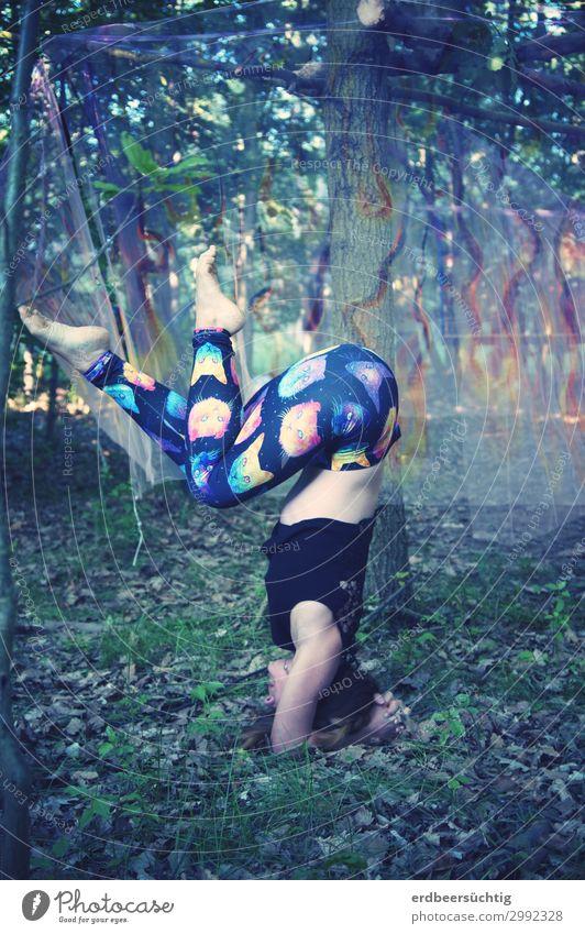 Open Air Yoga sportlich Fitness Leben feminin Körper 18-30 Jahre Jugendliche Erwachsene Sommer Baum Sträucher Moos Leggings atmen trashig mehrfarbig Gesundheit