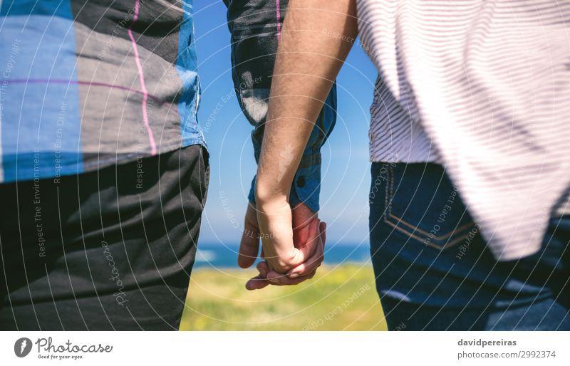 Nicht erkennbares Paar, das Händchen hält. Lifestyle Ferien & Urlaub & Reisen Abenteuer Meer Mensch Frau Erwachsene Mann Hand Natur Gras Wiese Küste Jeanshose