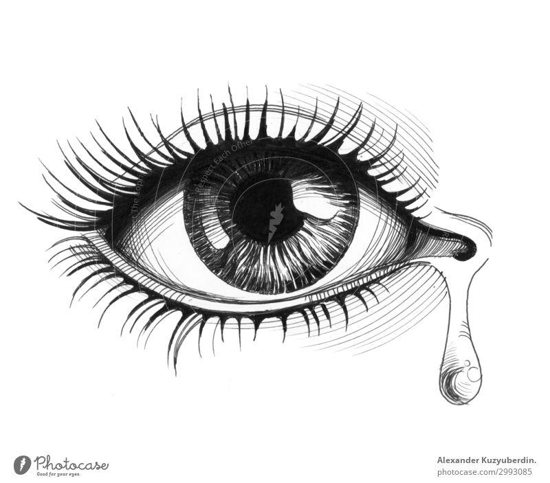 Auge und Träne Mensch feminin Frau Erwachsene Leben 18-30 Jahre Jugendliche Stimmung Sympathie schön Mitgefühl Menschlichkeit dankbar Hoffnung Traurigkeit