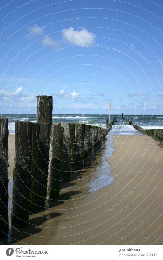 Einer schaut raus Wasser Himmel Meer Strand Sand Niederlande Flut Ebbe Holzpfahl