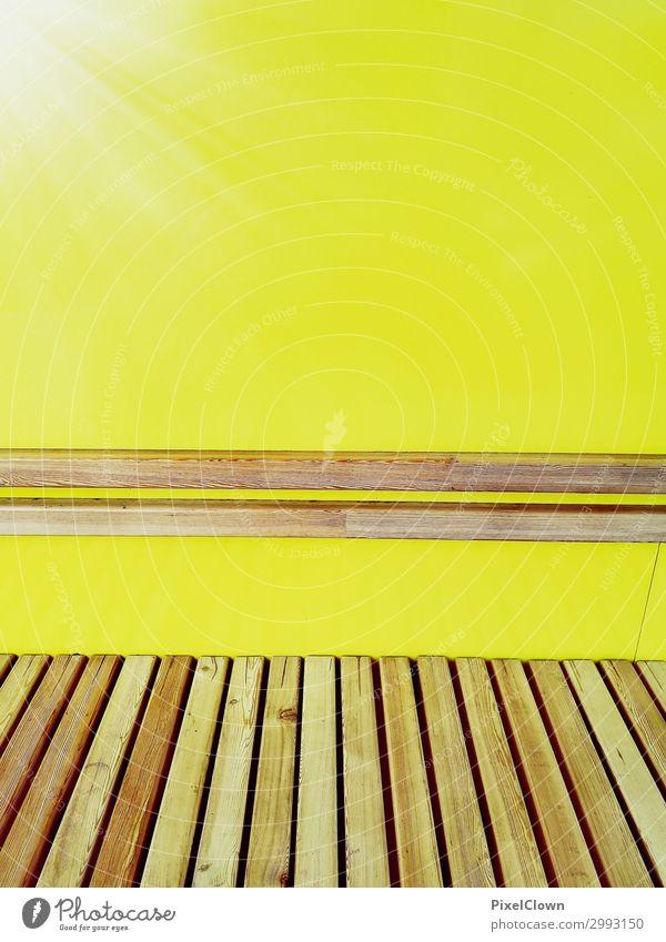 Sitzgelegenheit Stil Design Tourismus Ausflug Häusliches Leben Sessel Stuhl Nachtleben Entertainment Kunst Stadt Mauer Wand Zeichen sitzen ästhetisch gelb
