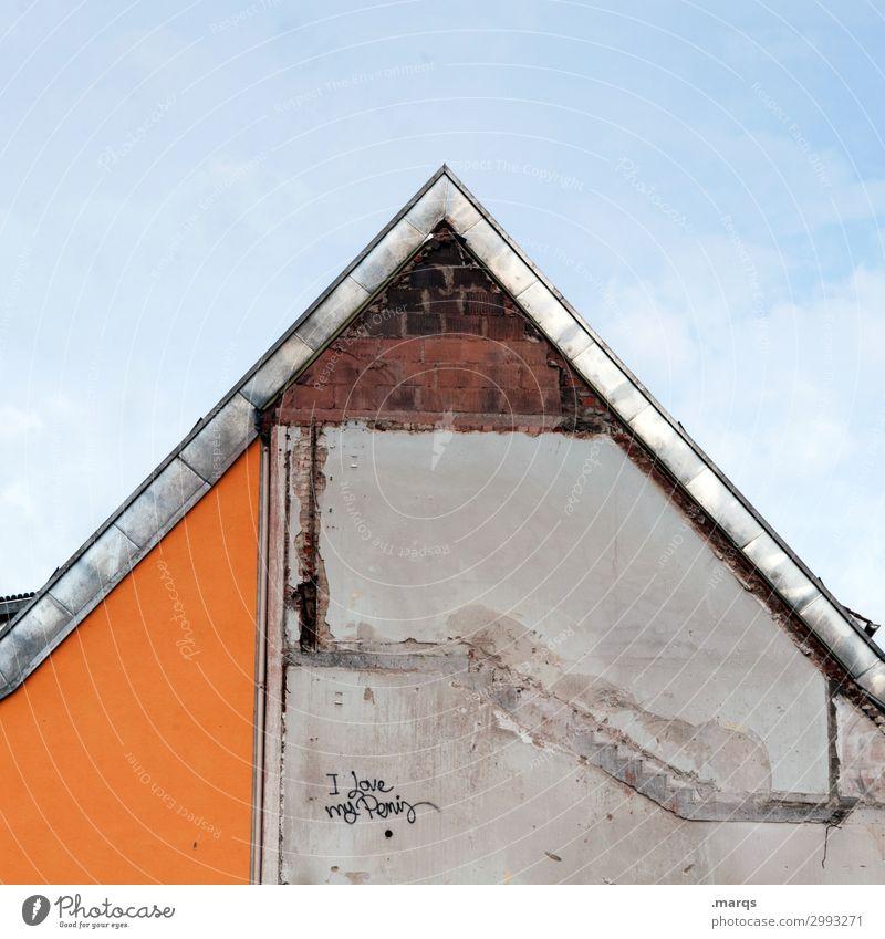 überzeugter Penisträger Himmel Haus Mauer Wand Fassade Schriftzeichen Graffiti skurril 1 Dachgiebel Liebe maskulin Gleichstellung Phallussymbol Sexualität