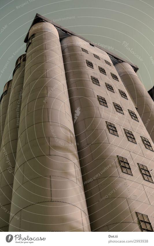 Silo Stadt Menschenleer Industrieanlage Gebäude rund braun Duisburg Museum Farbfoto Gedeckte Farben Außenaufnahme Textfreiraum oben Froschperspektive