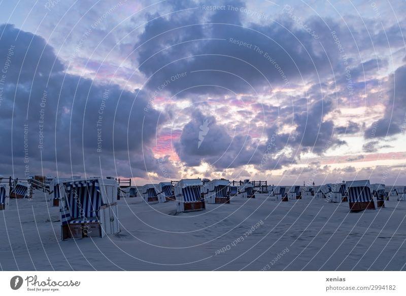 Himmel, Strand und Körbe mit Wolken am Abend bei Sonnenuntergang Strandkorb Erholung Schwimmen & Baden Ferien & Urlaub & Reisen Tourismus Sommer Sommerurlaub