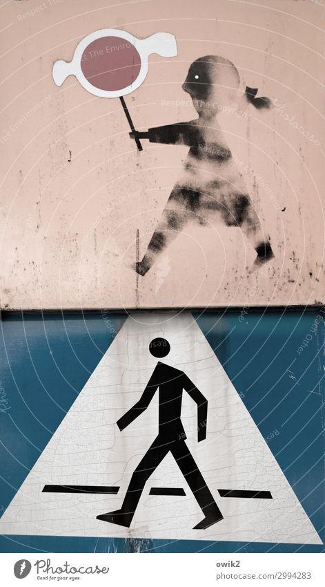 Spielstraße Mädchen Mann Erwachsene Polen Fußgänger Fußgängerübergang Farbstoff Piktogramm Metall Zeichen Schilder & Markierungen Hinweisschild Warnschild