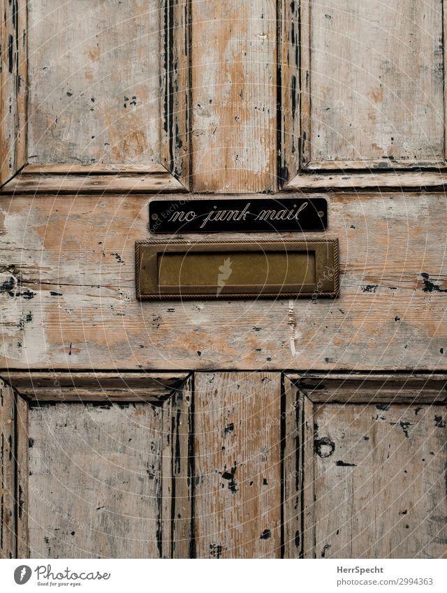 no junk mail Tür Holz Metall Schriftzeichen Schilder & Markierungen Hinweisschild Warnschild alt ästhetisch authentisch außergewöhnlich retro braun Briefkasten