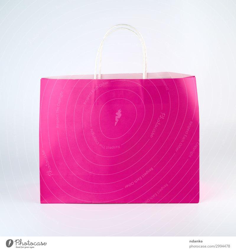 rechteckige rosa Papiertragetasche Lifestyle kaufen Design Business Container Mode Verpackung Paket modern neu gelb weiß Farbe Marketing Hintergrund Tasche