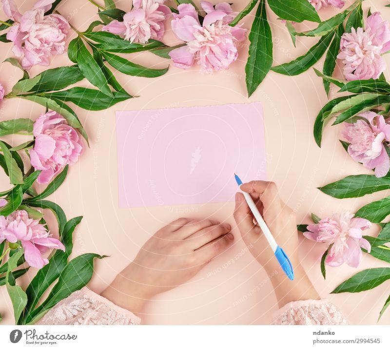 Hand hält Hand einen weißen Stift über ein leeres rosa Blatt Papier. Lifestyle Körper Dekoration & Verzierung Tisch Feste & Feiern Valentinstag Muttertag