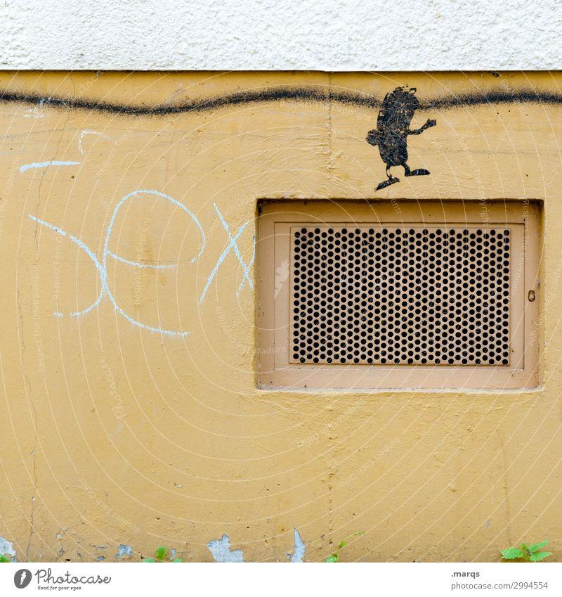Sex Mauer Wand Gitter Schriftzeichen Graffiti trashig gelb Partnerschaft Sexualität Verfall Farbfoto Außenaufnahme Nahaufnahme Strukturen & Formen Menschenleer