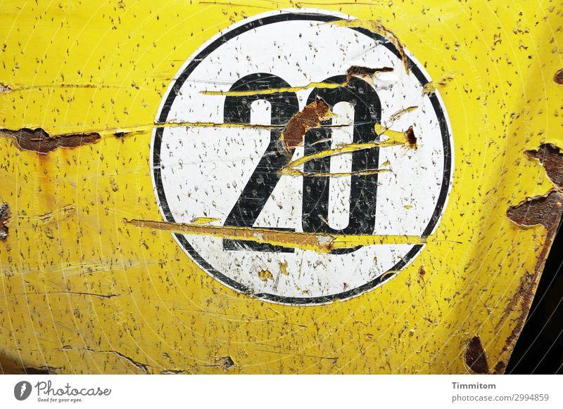 20 Fahrzeug Nutzfahrzeug Metall Kunststoff Ziffern & Zahlen authentisch einfach gelb Gefühle Kotflügel Etikett Kratzer Rost rund Geschwindigkeitsaufkleber