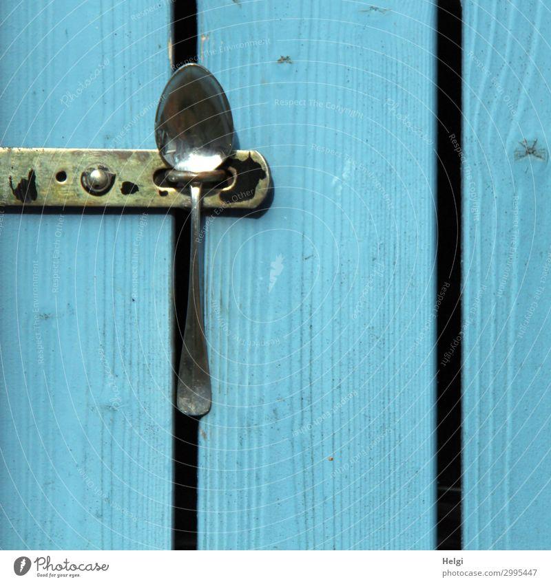Detailaufnahme einer Holztür aus blau gestrichenen Brettern, die mit einem Löffen verschlossen ist Tür Verschluss Löffel Metall festhalten außergewöhnlich