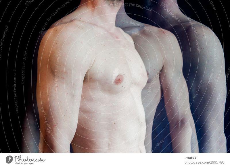 Oberkörper Mensch maskulin Mann Erwachsene Körper Brust Arme 1 stehen Fitness Gesundheit Gesundheitswesen Doppelbelichtung Sportler Farbfoto Innenaufnahme
