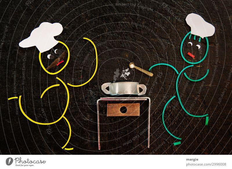 Gummiwürmer: Suppe versalzen Lebensmittel Eintopf Ernährung Schalen & Schüsseln Arbeit & Erwerbstätigkeit Beruf Küche Team Mensch maskulin 2 braun gelb grün