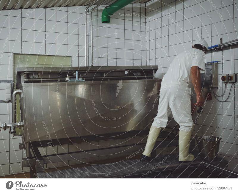 mozzarella-maker Käse Bioprodukte maskulin 1 Mensch Arbeit & Erwerbstätigkeit Molkerei Landwirtschaft Büffel Mozzarella Schwäbische Alb Produktion Kessel Kübel