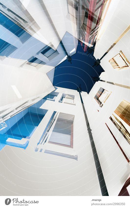 Hood blau weiß Fenster Architektur Gebäude außergewöhnlich Fassade oben Häusliches Leben hell modern Perspektive Zukunft einzigartig hoch Coolness