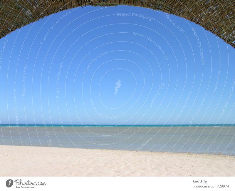 On the beach Ägypten Strand Meer Horizont Strandkorb Sand