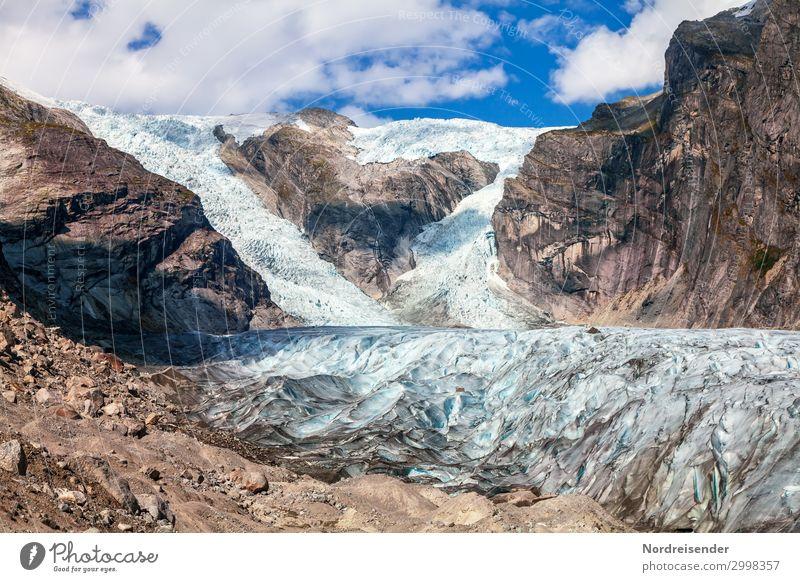 Gletscherzunge des Austerdalsbreen Himmel Ferien & Urlaub & Reisen Natur Landschaft Wolken Einsamkeit ruhig Ferne Berge u. Gebirge Umwelt kalt Tourismus Felsen