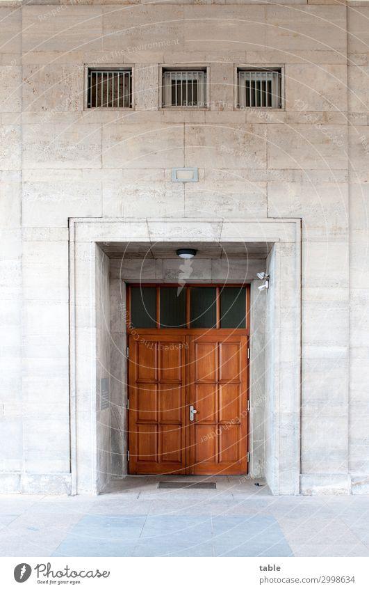 Portal alt Stadt Architektur Holz Gebäude Stein braun Fassade grau Häusliches Leben Metall retro Tür Glas ästhetisch Baustelle