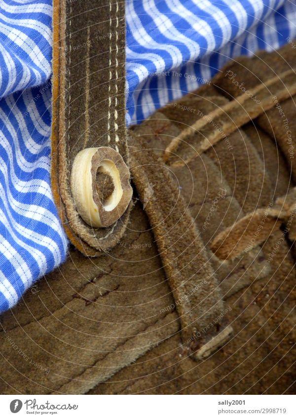 echt bayrisch... Bekleidung Hose Lederhose Krachlederne Hemd natürlich Originalität Nostalgie Tradition Tracht bayerisch Hirschhornknopf kariert blau-weiß