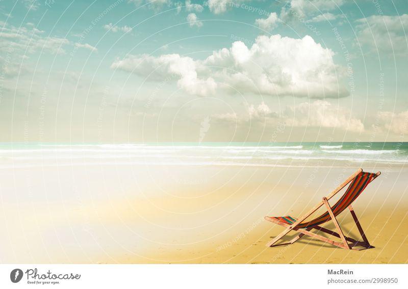 Liegestuhl am Strand Lifestyle Ferien & Urlaub & Reisen Tourismus Freiheit Camping Sommer Sommerurlaub Sonne Meer Insel Landschaft Sand Wasser Himmel Wolken