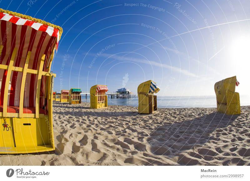 Strandkörbe in der Morgensonne Sommer Sand genießen Kommunizieren schlafen Schwimmen & Baden Spielen tauchen Zufriedenheit Ferien & Urlaub & Reisen