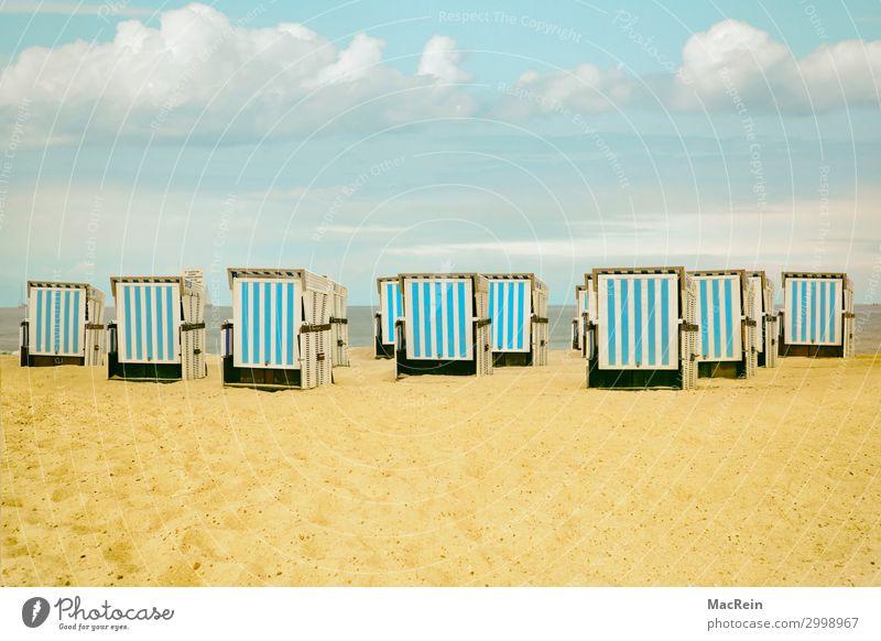 Strandkörbe Erholung ruhig Ferien & Urlaub & Reisen Ferne Sommer Meer Insel Landschaft Sand Himmel Horizont Sonnenlicht Wetter Wärme Gras Küste Nordsee Ostsee