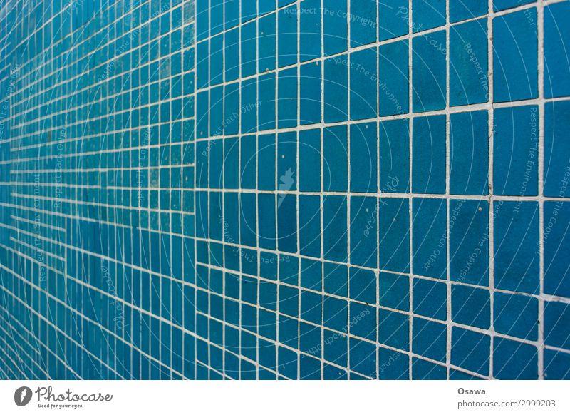 blau gefliest Fliesen Perspektive Fuge Stein Steinzeug Mosaik Gebäude Detail Muster Raster Textur Hintergrund Fluchtpunkt Textfreiraum Farbfoto menschenleer