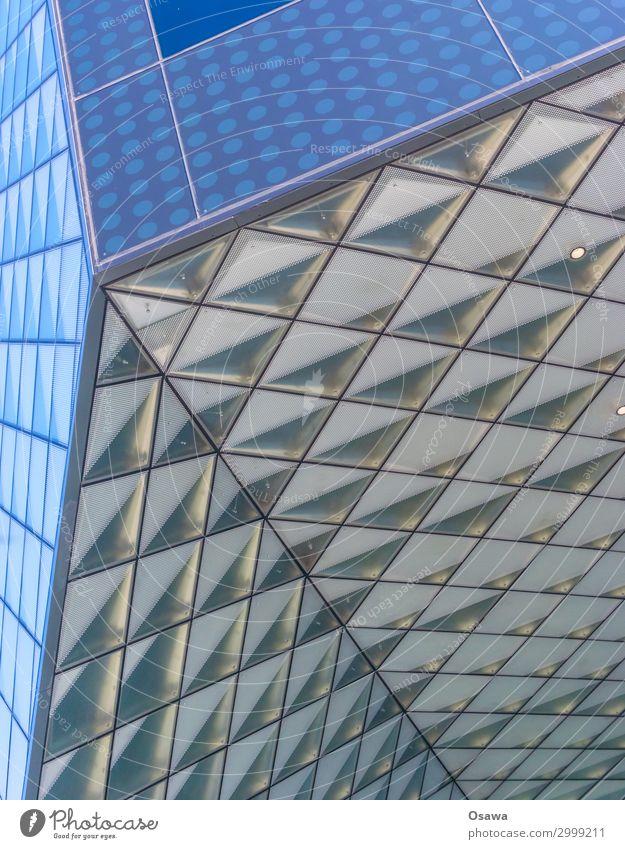 Blaue Ecken Haus Bauwerk Gebäude Architektur Fassade Fenster modern blau grau Geometrie formal Glas Glasscheibe Glasfassade Untersicht Farbfoto mehrfarbig