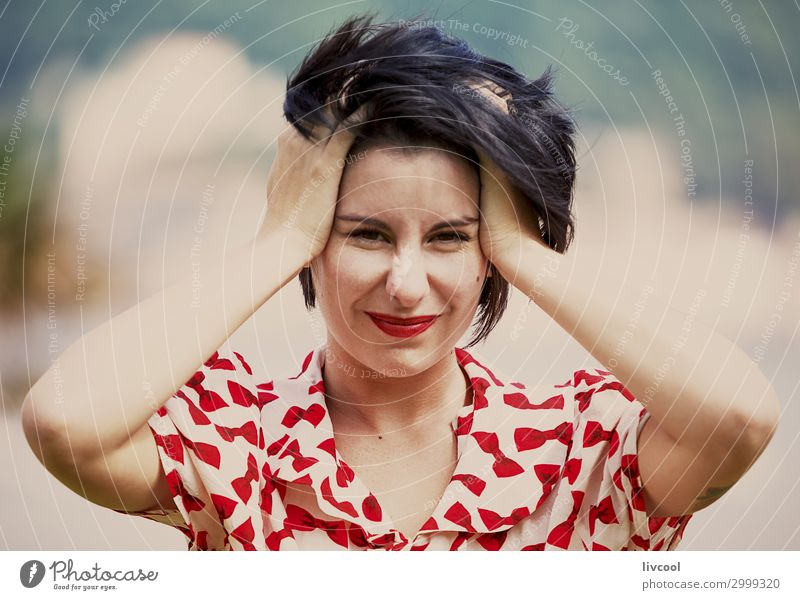 was für eine unerwartete Überraschung Lifestyle Stil schön Sommer Garten Mensch feminin Junge Frau Jugendliche Erwachsene Kopf Haare & Frisuren Gesicht Auge