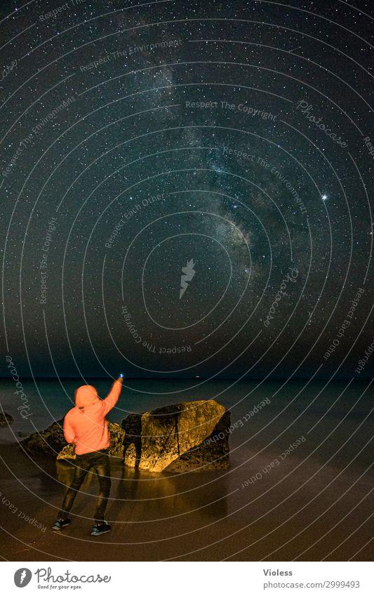 MilkyWay II Natur Landschaft Urelemente Erde Himmel Wolkenloser Himmel Stern Wellen Küste Strand Meer beobachten Beleuchtung träumen außergewöhnlich dunkel