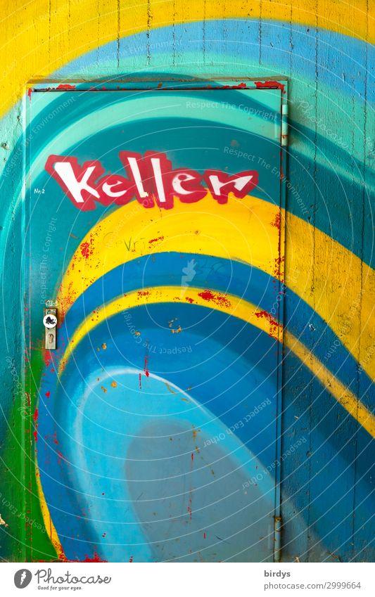 Kellertür Mauer Wand Tür Beton Metall Schriftzeichen Graffiti authentisch Freundlichkeit positiv Stadt blau mehrfarbig gelb grün rot türkis weiß Farbe