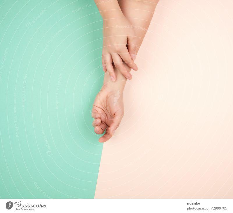 zwei weibliche Hände mit leichter, glatter Haut elegant schön Körper Maniküre Kosmetik Behandlung Wellness Erholung Spa Hochzeit Mensch Frau Erwachsene Arme