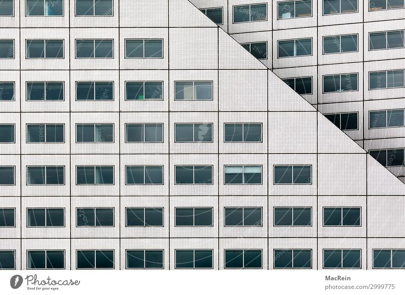 Fensterfassade Hauptstadt Hafenstadt Hochhaus Bankgebäude Gebäude Architektur weiß ästhetisch komplex Fassade Fensterfront Bürogebäude Fliesen u. Kacheln