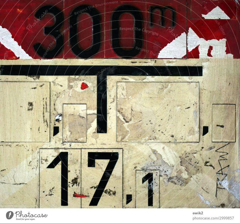 Urbanes Leben Kunststoff Zeichen Ziffern & Zahlen Schilder & Markierungen alt dreckig trashig Stadt wild gelb rot schwarz Abnutzung Farbfoto Gedeckte Farben