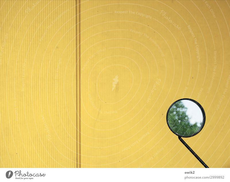 I o Mauer Wand Rückspiegel Fahrrad Fahrradspiegel Glas Metall Kunststoff einfach rund gelb minimalistisch wenige verschwommen Linie Farbfoto Außenaufnahme