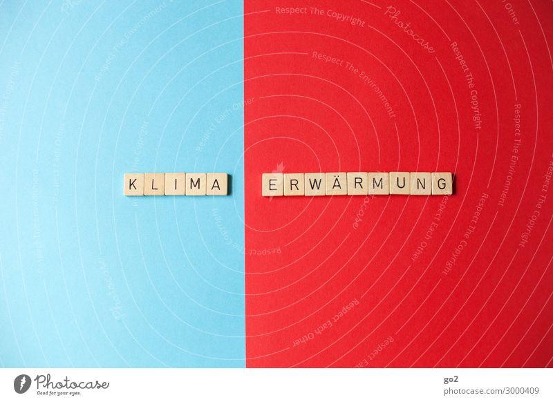 Klimaerwärmung Spielen Klimawandel Wetter Papier Holz Schriftzeichen kalt Wärme blau rot Zukunftsangst Endzeitstimmung Gesellschaft (Soziologie) Gesundheit