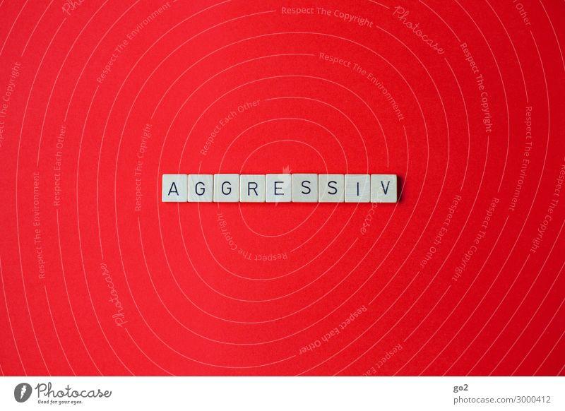 Aggressiv Spielen Holz Schriftzeichen Aggression Wut rot Gefühle Ärger gereizt Feindseligkeit Frustration Verbitterung trotzig Rache Gewalt Hass Farbfoto