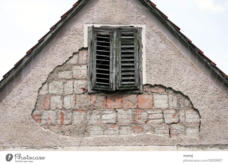 Wenn der Putz abblättert Haus Bauwerk Mauer Wand Fassade Fenster Fensterladen Backstein alt dunkel gruselig kalt Enttäuschung Erschöpfung Senior Ende Misserfolg