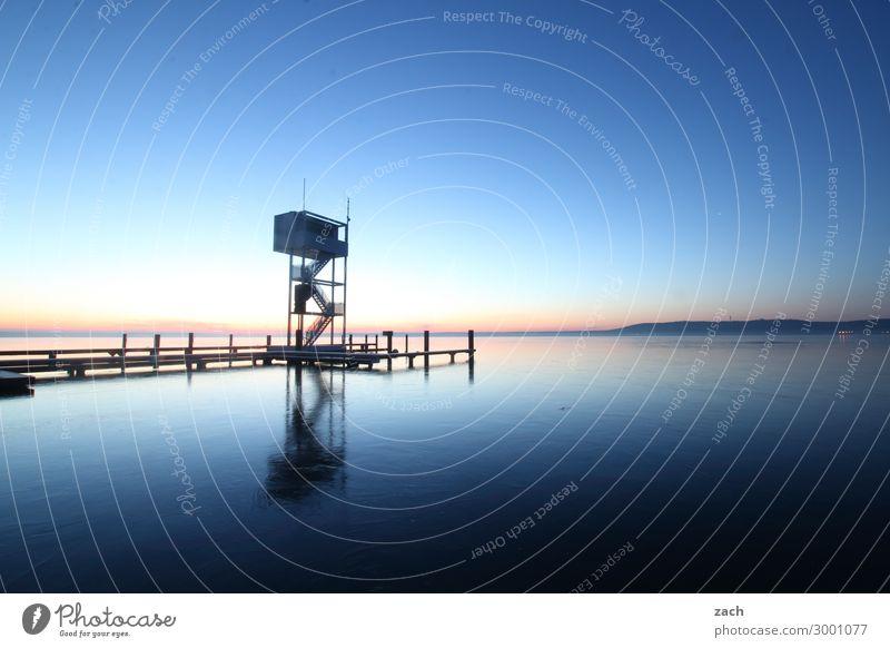 Morgens am See Schwimmbad Sprungbrett Natur Wasser Himmel Nachthimmel Sonnenaufgang Sonnenuntergang Schönes Wetter Seeufer Großer Müggelsee Berlin