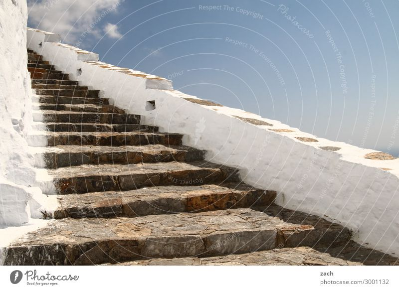 immer weiter Himmel Schönes Wetter Insel Kykladen Amorgos Griechenland Dorf Fischerdorf Treppe Wege & Pfade alt blau aufwärts oben abwärts Höhe Farbfoto