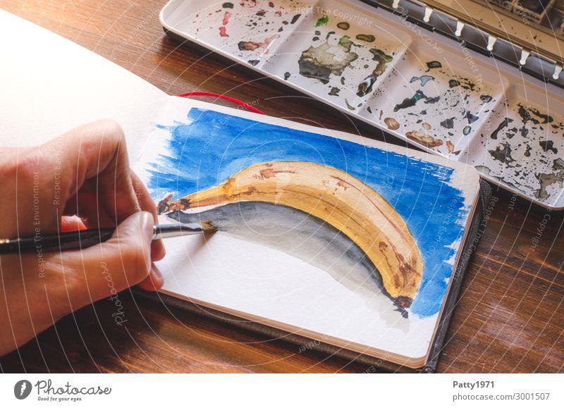 Banane in Aquarell Frucht Freizeit & Hobby malen Hand 1 Mensch 18-30 Jahre Jugendliche Erwachsene 30-45 Jahre Kunst Künstler Maler zeichnen authentisch blau