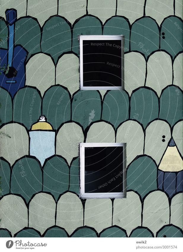 Architekturbüro Kunst Kunstwerk Gemälde Haus Fassade Fenster einfach Dekoration & Verzierung Polen Straßenkunst Farbfoto Gedeckte Farben Außenaufnahme