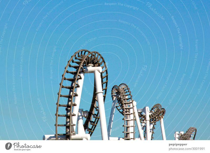 Korkenzieher Freizeit & Hobby Kirmes Vergnügungspark Ausflug Abenteuer Freiheit Sommer Maschine Technik & Technologie Himmel Wolkenloser Himmel Schienenverkehr