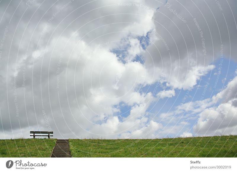 Sehnsucht nach Ruhe Wohlgefühl Zufriedenheit Erholung ruhig Umwelt Natur Landschaft Luft Himmel Wolken Klimawandel Wetter Wiese Deich atmen natürlich schön blau