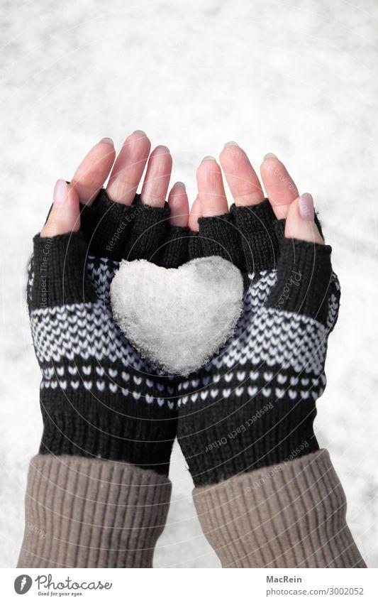 Schneeherz in der Hand Spielen Winter Mensch Frau Erwachsene Handschuhe Herz Liebe kalt Sauberkeit weiß Gefühle herzförmig Finger haltend Farbfoto Außenaufnahme