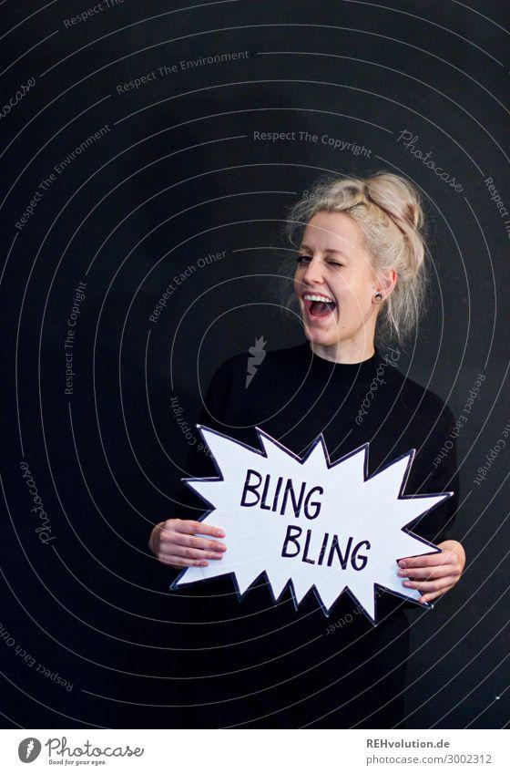 Sprechblasen | Bling Bling Lifestyle Mensch feminin Junge Frau Jugendliche Erwachsene 1 18-30 Jahre blond langhaarig festhalten lachen außergewöhnlich