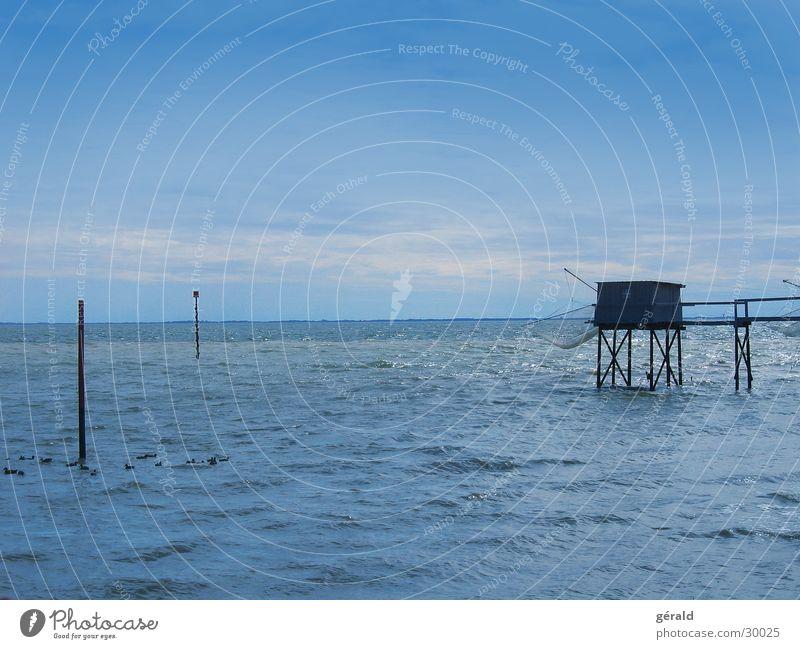Gironde Wasser Meer blau Horizont Ente Fischereiwirtschaft Atlantik