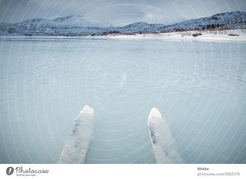 Auf zu neuen Ufern Natur Wasser Winter Berge u. Gebirge Wege & Pfade Schnee See Eis Abenteuer Perspektive Beginn Zukunft lernen Neugier Ziel Urelemente
